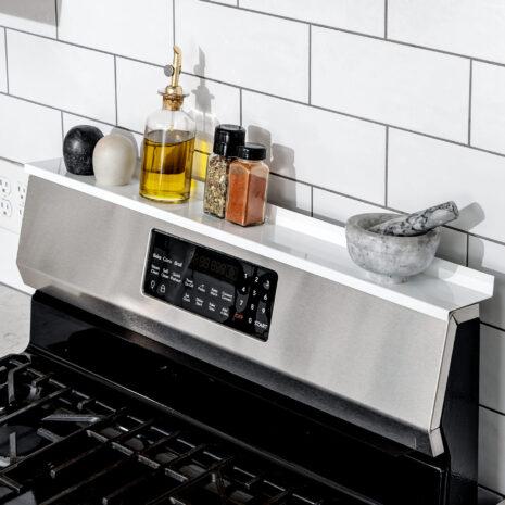 "StoveShelf Magnetic Shelf for Kitchen Stove - Kitchen Storage Solution with Zero Installation - White - 30"" Length"