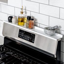 StoveShelf Magnetic Shelf for Kitchen Stove - Kitchen Storage Solution with Zero Installation - White - 30